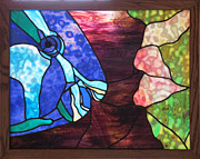 Night Glass Art - Parrot Fish and Coral by Julie Turner