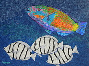 Hawaiian Fish Paintings - Parrot fish and Maninis by Linda Peterson