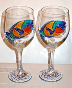 Painted Wine Glass Glass Art - Parrot Fish by Pauline Ross