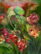 Tropical Bird Art Prints - Parrot In Parrot Tulips Print by Carol Cavalaris