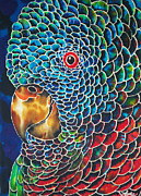 Featured Tapestries - Textiles Originals - Parrot of St. Lucia by Debbie Wagner