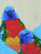 Margaret Saheed Framed Prints - Parrot Pair Framed Print by Margaret Saheed
