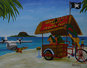 Albatross Paintings - Parrot Petes Portable Pirate Party by Anthony Dunphy
