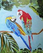 Jungle Paintings - Parrot Talk by Judy Kay
