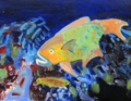 Fish Underwater Paintings - Parrotfish #1 by Meredith Kopelman