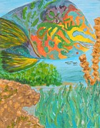 Parrotfish Paintings - Parrotfish in the Coral by Connie Campbell Rosenthal