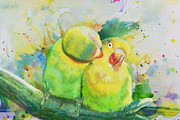 Fresh Flowers Paintings - Parrots by Catf
