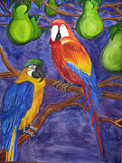 Fruit Tree Art Drawings - Parrots in a Pear Tree by Andrea Barrett