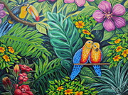 Parrots Jungle Love Scene Print by Drinka Mercep