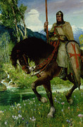 Shield Painting Metal Prints - Parsifal in Quest of the Holy Grail Metal Print by Ferdinand Leeke