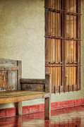 Wooden Building Framed Prints - Part of a Bench Framed Print by Joan Carroll