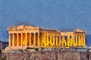 Akropolis Posters - Parthenon during dusk time Poster by George Atsametakis