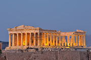 Akropolis Posters - Parthenon in Acropolis of Athens during dusk time Poster by George Atsametakis