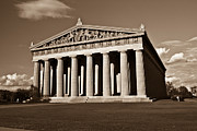 Nashville Tennessee Metal Prints - Parthenon in Sepia 2 Metal Print by Douglas Barnett