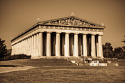 Nashville Tennessee Prints - Parthenon in Sepia 3 Print by Douglas Barnett