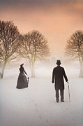 Husband Waiting Framed Prints - Parting Victorian Couple With Mist And Snow Framed Print by Lee Avison