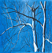 Bare Trees Drawings Metal Prints - Partners Metal Print by MaryAnn Stafford