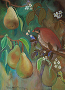 Pear Tree Pastels - Partridge and Pear Blossoms by Robin Maria  Pedrero