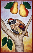 Christmas Paintings - Partridge in a Pear Tree by Linda Mears