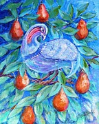 Pear Tree Paintings - Partridge in a Pear Tree  by Trudi Doyle