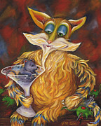 Drunk Paintings - Party Animals- Cat and Mouse by Debbie McCulley