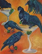 Flock Of Birds Painting Metal Prints - PARTY ANIMALS - Murder Of Crows Metal Print by Debbie McCulley