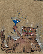 Drunken Drawings - Party Cat by Angel  Tarantella