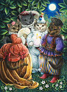 Masquerade Framed Prints - Party Cats Framed Print by Lynn Bywaters