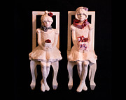Sculptures Mixed Media Framed Prints - Party Girls Framed Print by Mary Buckman