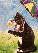 Mardi Gras Paintings - Party Gras Cat by Lynn Luna