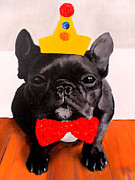 Colorful French Bulldog Art Posters - Party Hard Poster by Marina Joy