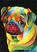 Animal Paintings - Party Pug by Sherry Shipley