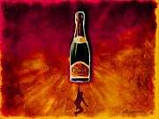 Champagne Mixed Media Metal Prints - Party Time Metal Print by EricaMaxine  Price