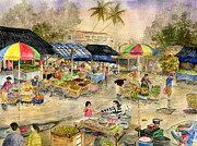 Melly Terpening Paintings - Pasar Tradisional Pacung Bali Indonesia by Melly Terpening