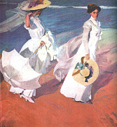 Sorolla Paintings - Paseo a orillas del mar by Joaquin Sorolla