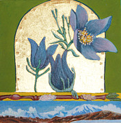 Egg Tempera Paintings - Pasque Flower in the Spring by Amy Reisland-Speer