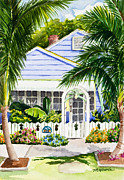 Pineapple Paintings - Pass-a-Grille Cottage Watercolor by Michelle Wiarda