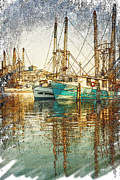 Shrimp Boat Prints - Pass Christian Harbor Sketch Print by Joan McCool