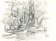 Park Scene Drawings - Passageway at Elephant Rocks by Kip DeVore