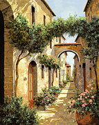 Landscape Oil Framed Prints - Passando Sotto Larco Framed Print by Guido Borelli