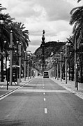 Tree Lines Photo Framed Prints - Passeig De Colom Leading To Columbus Monument Barcelona Catalonia Spain Framed Print by Joe Fox