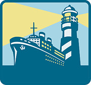 Cargo Prints - Passenger Ship Cargo Boat Lighthouse Retro Print by Aloysius Patrimonio