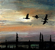 Canadian Geese Pastels - Passing in Light by R Kyllo