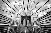 Brooklyn Bridge Photo Posters - Passing the future on your way there Poster by John Farnan
