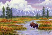 Bull Moose Prints - Passing Through Print by Ellen Strope