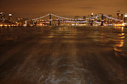 John Telfer Photography Framed Prints - Passing Under the Brooklyn and 52nd St Bridges Framed Print by John Telfer