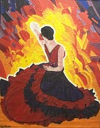Arte Mosaico Mixed Media Prints - Passion Flamenco Print by Liza Wheeler