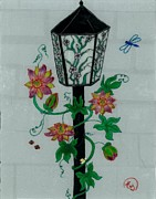 Lamp Post Mixed Media Prints - Passion Flower Print by Elizabeth Scheglov