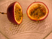 Passion Fruit Framed Prints - Passion fruit on fish plate 11-3-13 Framed Print by Julianne Felton