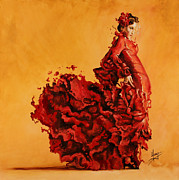 Spanish Dancing Painting Prints - Passion Print by Karina Llergo Salto